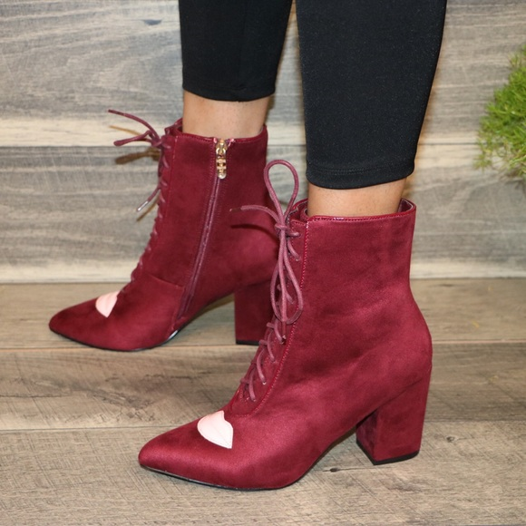 32f829ea545d Shoes | Wine Vegan Lace Up Chunky Heel Boots With Lips | Poshmark